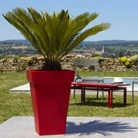 Romeo  PLUS pots γλαστρα πλαστική Γαλλική εξωτερικού χώρου και εσωτερικο χώρου Σε 4 χρώματα  Ανθρακι- tortora  καραμελ taupe - λαχανί- κόκκινο  - Σε τετραγωνη ύψος πάλι 55 cm και φάρδος 39×39cm. Τιμή 30 ευρώ