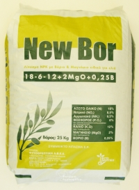 A AA Ελιας New bor 18-6-12+2Mgo +0,25borio κοκκωδες βασικο λιπασμα ελιας δεντρων 25kg -- Πληρες σε αζωτο για ανθοφορια σε καλιο για καρποφορια και φωσφορο για ριζα.Σε παλετα 1000 η 1575 kg