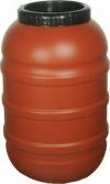 Πλαστικό Βαρέλι 200lt για λάδι τσίπουρο κρασί μέλι.κοκκινο  με Διπλό Καπάκι και Λάστιχο  .Τροφίμων miltoplast